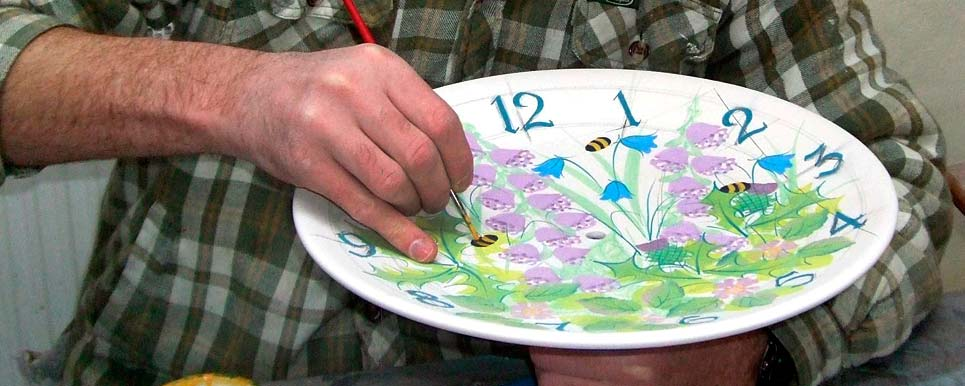 Tain Pottery clock - hand painted