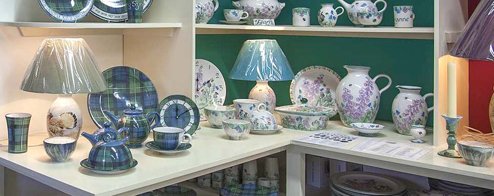 superb pottery selection all hand painted in the Highlands of Scotland at Tain Pottery